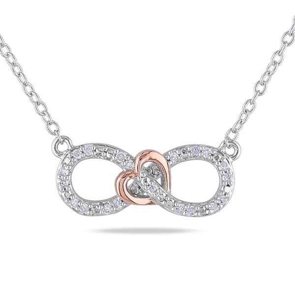 c78510c51 Miadora Sterling Silver 1/10 ct. TDW Diamond Heart Infinity Necklace