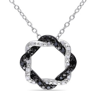 Miadora Sterling Silver 1/5ct TDW Black and White Diamond Twisted Necklace