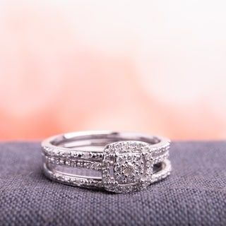 Miadora 10k White Gold 1/3ct TDW Diamond Bridal Ring Set