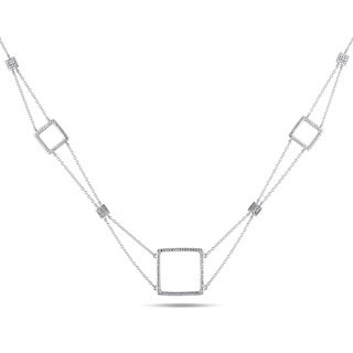Miadora Sterling Silver 1/10ct TDW Diamond Necklace