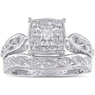 Miadora Sterling Silver 1/5ct TDW Diamond Milgrain Bridal Ring Set