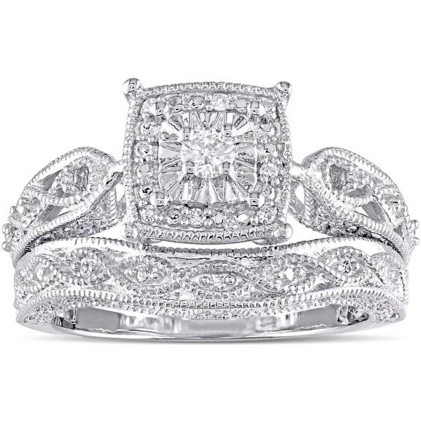 Miadora Sterling Silver 1/5ct TDW Diamond Milgrain Engagement Ring Set