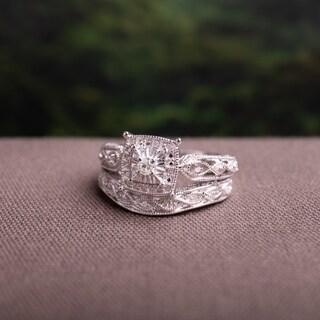 Infinity Milgrain Sterling Silver 1/5ct TDW Diamond Bridal Set by Miadora