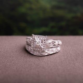 Miadora Sterling Silver 1 5ct TDW Diamond Milgrain Engagement Ring Set