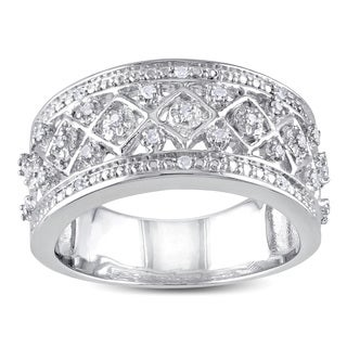 Miadora Sterling Silver 1/6ct TDW Diamond Ring