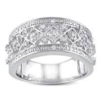 Miadora Sterling Silver 1/6ct TDW Diamond Ring