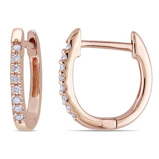 Miadora 1/10ct TDW Diamond Hoop Earrings in 10k Rose Gold