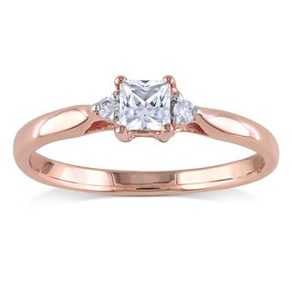 Miadora Rose Plated Silver Created White Sapphire and Diamond Accent 3-stone Ring