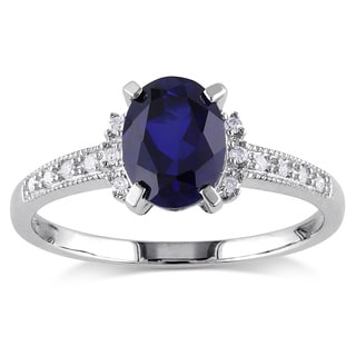Miadora 10k White Gold Oval-cut Created Blue Sapphire and Diamond Accent Cocktail Ring