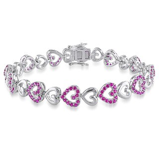 Miadora Sterling Silver Created Ruby Heart Bracelet