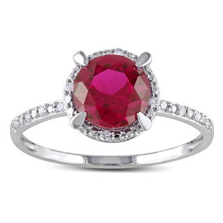 Miadora 10k White Gold Created Ruby and Diamond Accent Cocktail Ring
