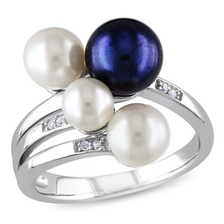 Miadora Silver Pearl and Diamond Accent Ring (5-8 mm)