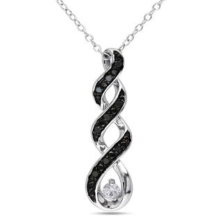 Miadora Sterling Silver Created White Sapphire and 1/10ct TDW Black Diamond Necklace