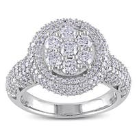 Miadora Signature Collection 10k White Gold 2ct TDW Diamond Cluster Engagement Ring