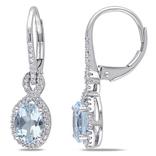 Miadora 10k White Gold Aquamarine and 1/4ct TDW Diamond Earrings (G-H, I1-I2)