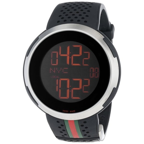 cd593517435 Shop Gucci Men s  I-Gucci  Black Digital Watch - Free Shipping Today -  Overstock - 9214664