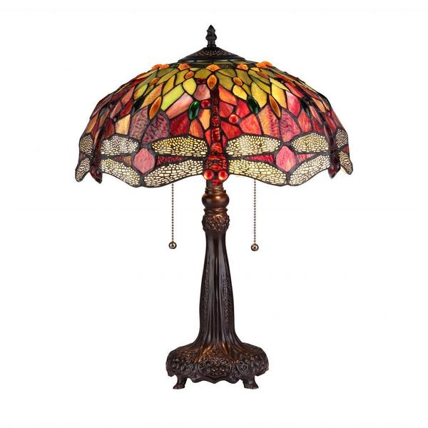 Tiffany Style Dragonfly Design 2-light Table Lamp