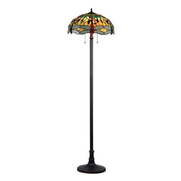 Tiffany Style Dragonfly Design 2 Light Floor Lamp Free