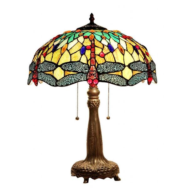 tiffany style dragonfly design 2 light table lamp free shipping. Black Bedroom Furniture Sets. Home Design Ideas