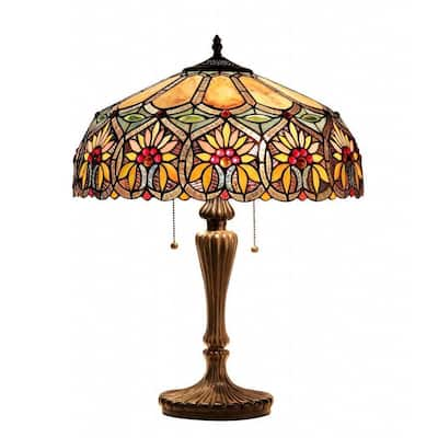 Tiffany Style Floral Design 2-light Table Lamp