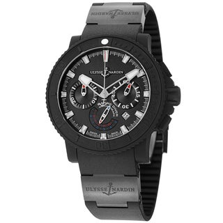 Ulysse Nardin Men's 353-92/3C 'Black Sea' Black Dial Black Rubber Strap Watch
