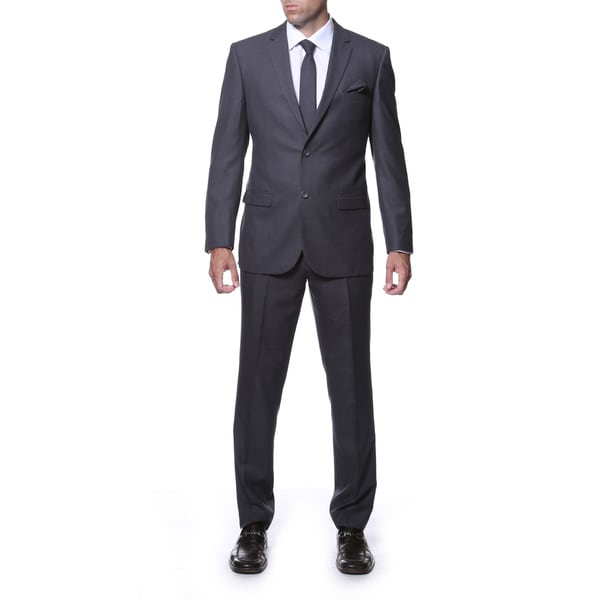 Zonettie by Ferrecci Mens Slim Fit Charcoal Grey Plaid Tone-on-Tone Suit