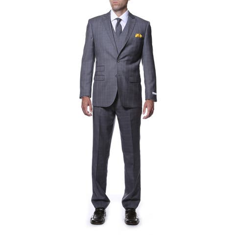 Zonettie by Ferrecci Men's Slim Fit Charcoal Plaid Double-breasted 3-piece Vested Suit