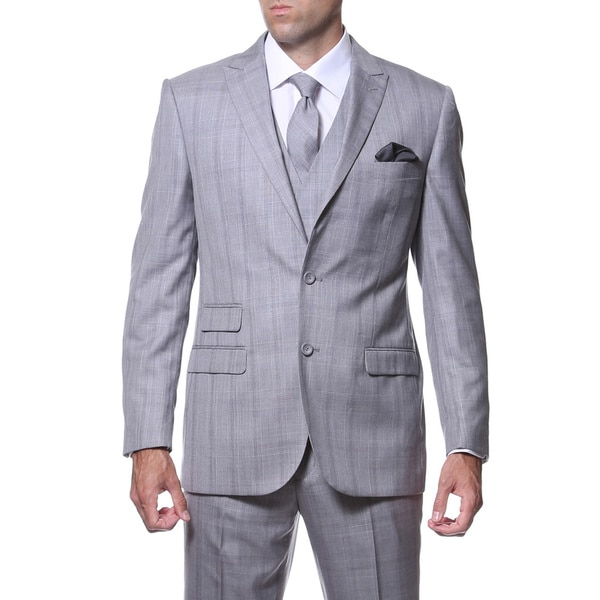 Zonettie by Ferrecci Mens Slim Fit Grey and Silver Plaid Double-breasted 3-piece Vested Suit