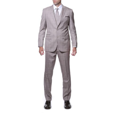 Zonettie by Ferrecci Men's Slim Fit Tan Plaid Double-breasted 3-piece Vested Suit