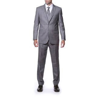 Zonettie by Ferrecci Men's Slim Fit Grey Plaid Double-breasted 3-piece Vested Suit (More options available)