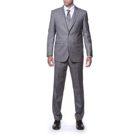 Zonettie by Ferrecci Men's Slim Fit Grey Plaid Double-breasted 3-piece Vested Suit