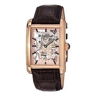Stuhrling Original Men's Gatsby Plaza Mechanical Leather Strap Watch