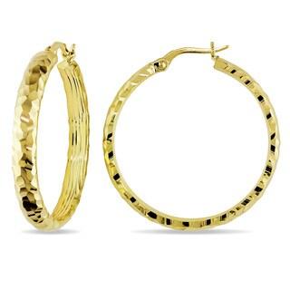 Miadora 14k Yellow Gold Diamond Cut Hoop Earrings