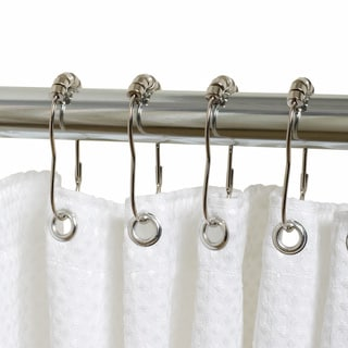 Hotel Quality White Fabric Shower Curtain Liner and Hook Set ...