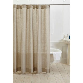 Natural Cotton Linen Shower Curtain