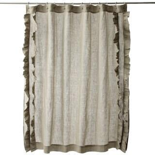 Ruffled Natural Cotton Linen Shower Curtain