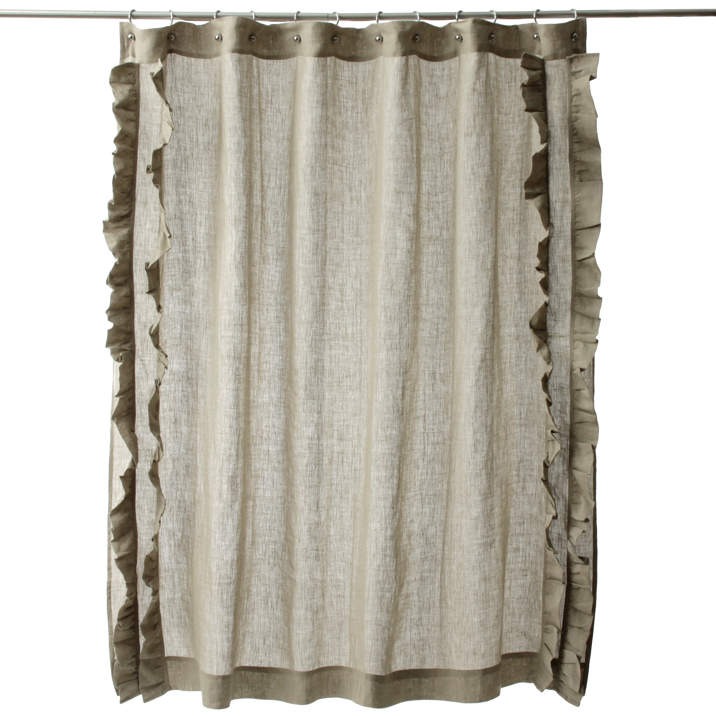 Ruffled Natural Cotton Linen Shower Curtain