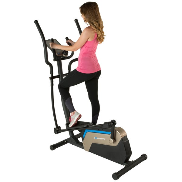 """EXERPEUTIC 4000 Double Transmission Drive 18"""" Stride Elliptical with Magnetic Resistance and Heart Rate Control"""