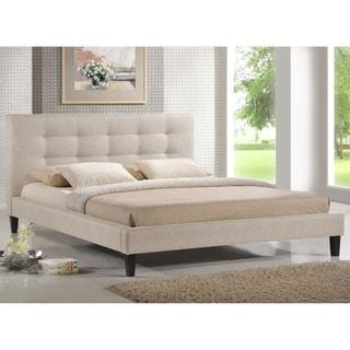 Baxton Studio Quincy Tufted Light Beige Linen Platform Bed