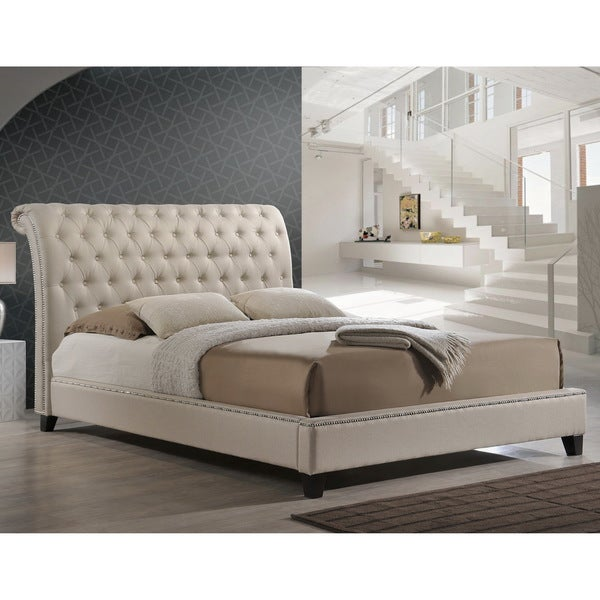 ... Studio Jazmin Tufted Light Beige Modern Bed with Upholstered Headboard