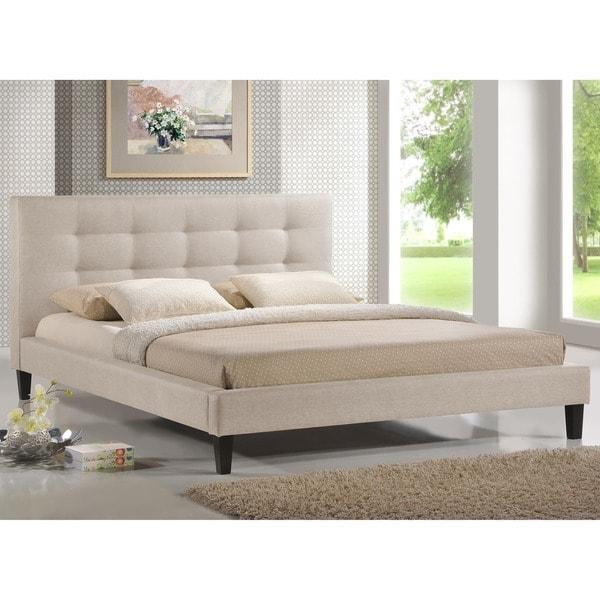 quincy natural linen king size platform bed tokida for