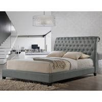Jazmin Tufted Gray Modern Bed with Upholstered Headboard