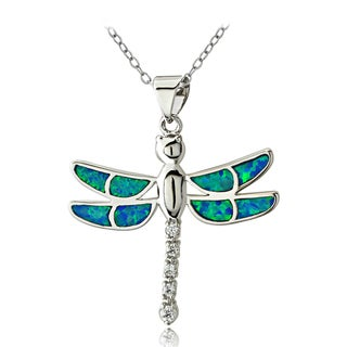 Glitzy Rocks Silvertone Created Blue Opal and Cubic Zirconia Dragonfly Necklace