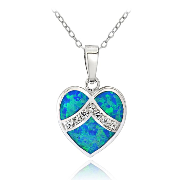 Glitzy Rocks Sterling Silver Created Blue Opal and Cubic Zirconia Fashion Heart Necklace