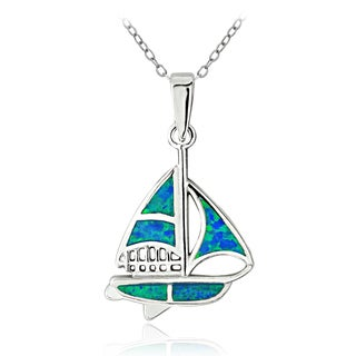Glitzy Rocks Sterling Silver Created Blue Opal Sailboat Necklace