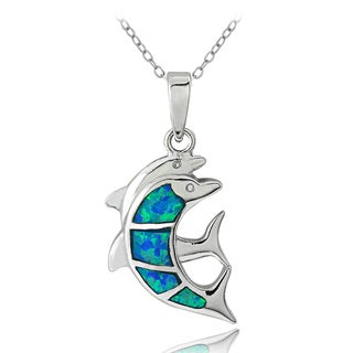 Glitzy Rocks Sterling Silver Created Blue Opal Double Dolphin Necklace
