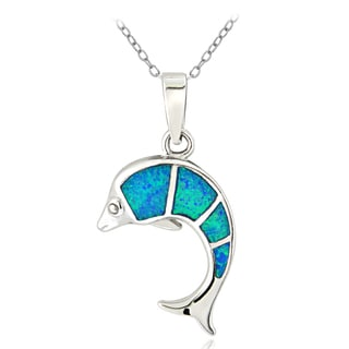 Glitzy Rocks Sterling Silver Created Blue Opal Leaping Dolphin Necklace