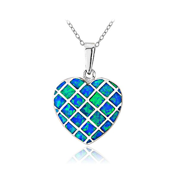 Glitzy Rocks Sterling Silver Created Blue Opal Heart Necklace