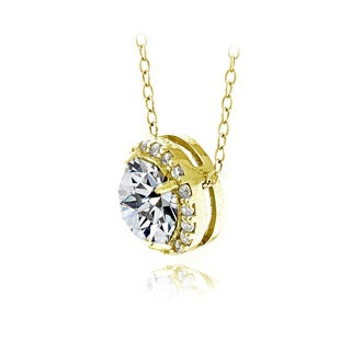 Icz Stonez Platinum Plated Sterling Silver 3ct TGW 100 Facets Cubic Zirconia Halo Pendant Necklace