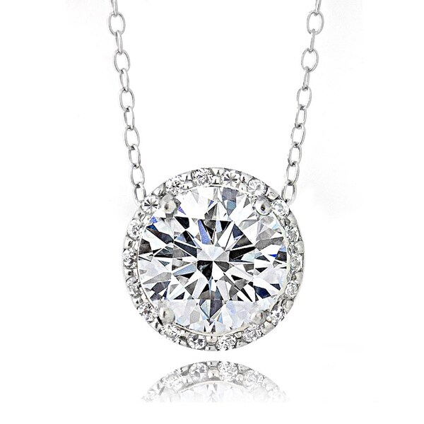 Icz Stonez Platinum Plated Sterling Silver 3ct TGW 100 Facets Cubic Zirconia Halo Pendant Necklace. Opens flyout.